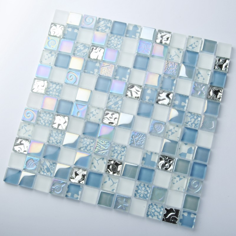 GS47 Glass Marble glass metal mix mosaic
