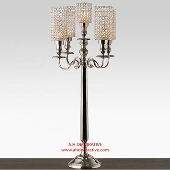 Candelabra 5 Arms With Crystal Pillar