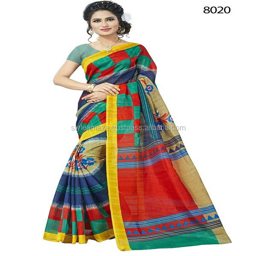 Fancy Printed bhaglpuri silk saree