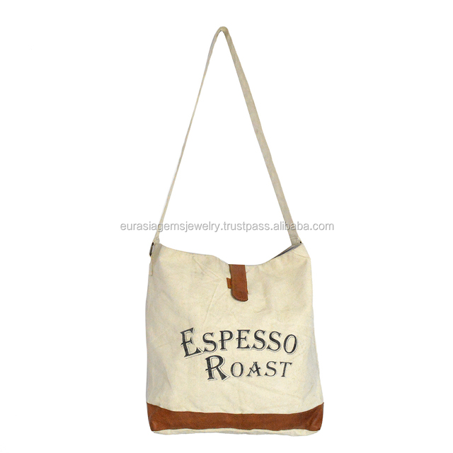 Beautiful Genuine Goat Leather And Canvas White Color Fabric Popular Women Handbags