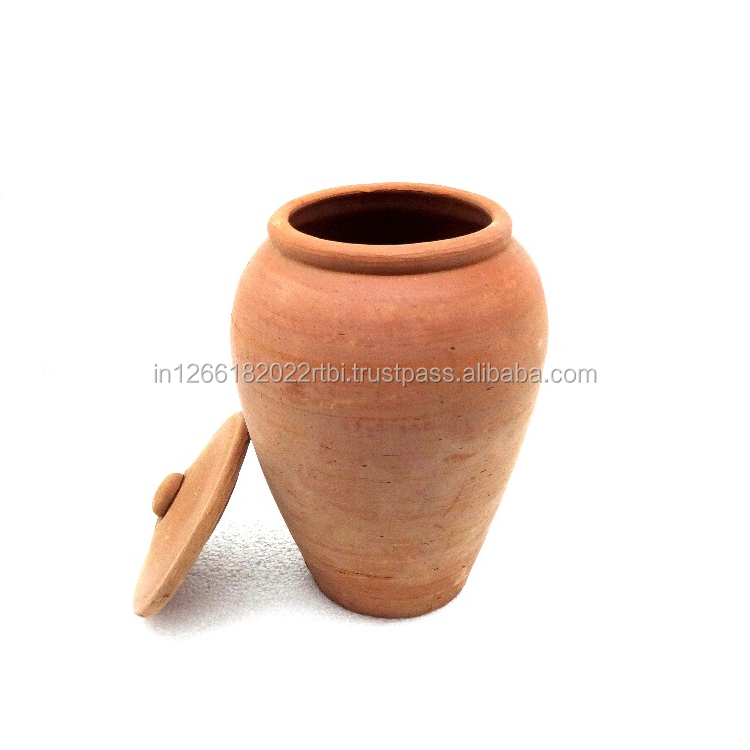 Un Glazed Terracotta Urn and Pots - Natural Color Terracotta Pot With Lid