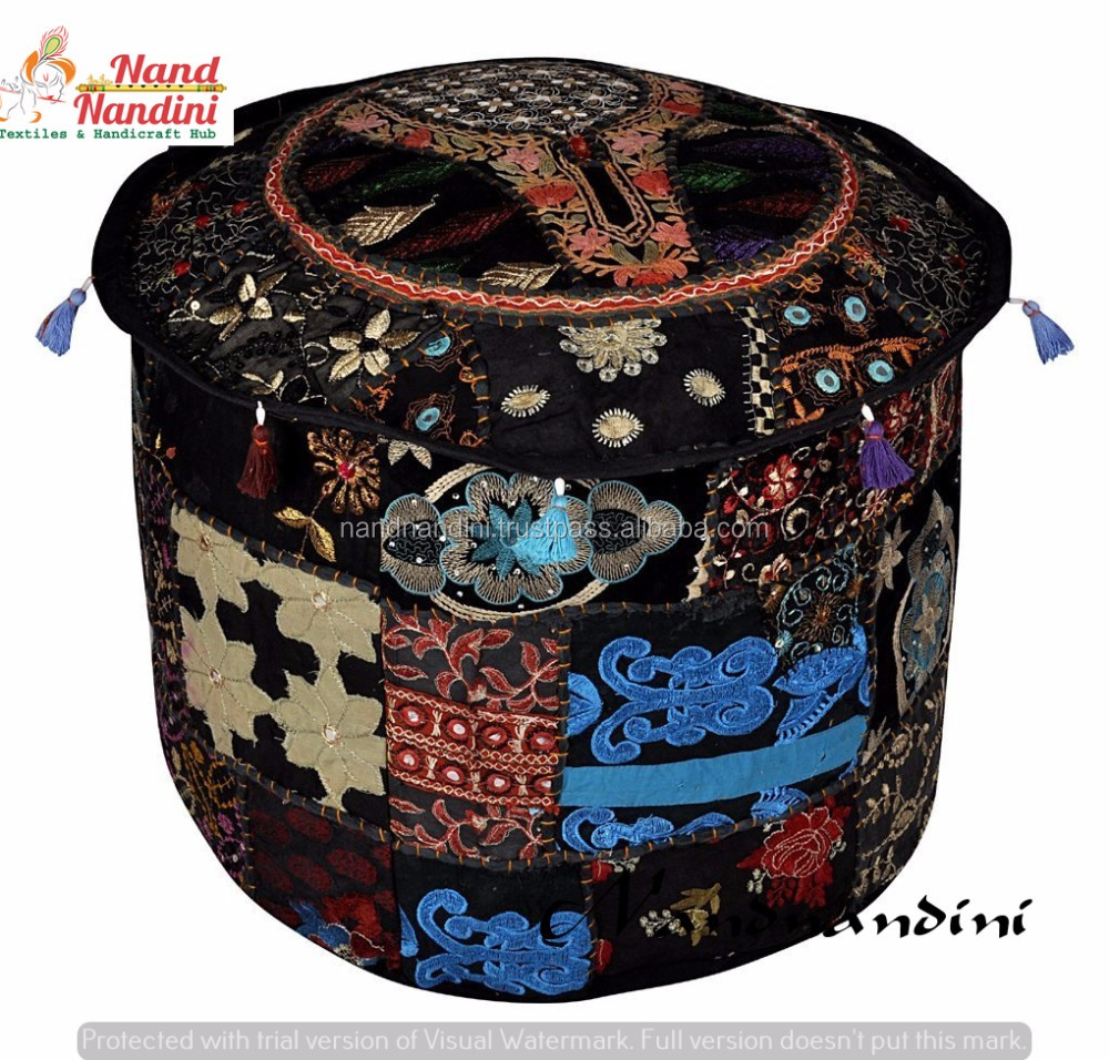 Black Handmade Pouf Cover Beige Patchwork Pouffe Home Decor Cotton Floral India Traditional Footstool Ethnic Bench Ottoman Cover