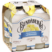 Bundaberg Traditional Lemonade 4x375ml brewed drinks