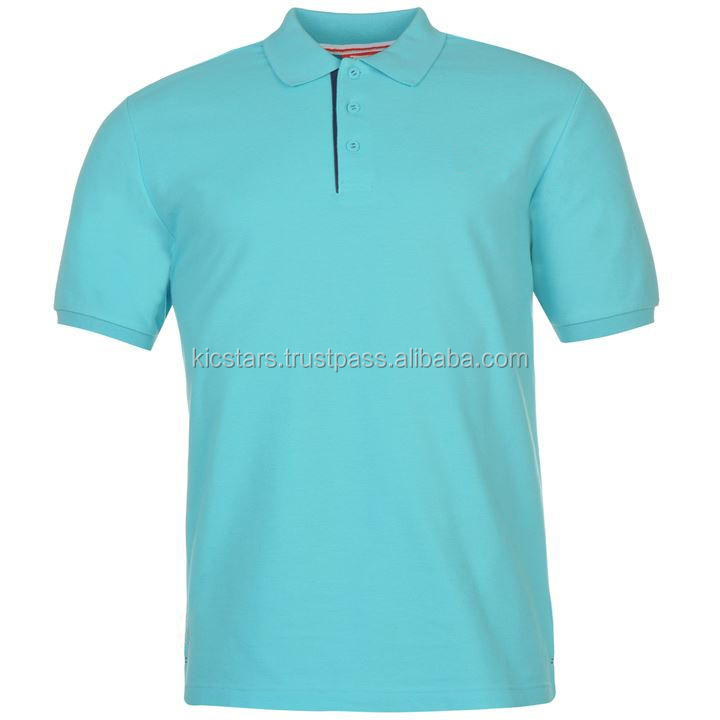Sky Blue Cotton Polo Shirt With Ribbed Sleeves For Men