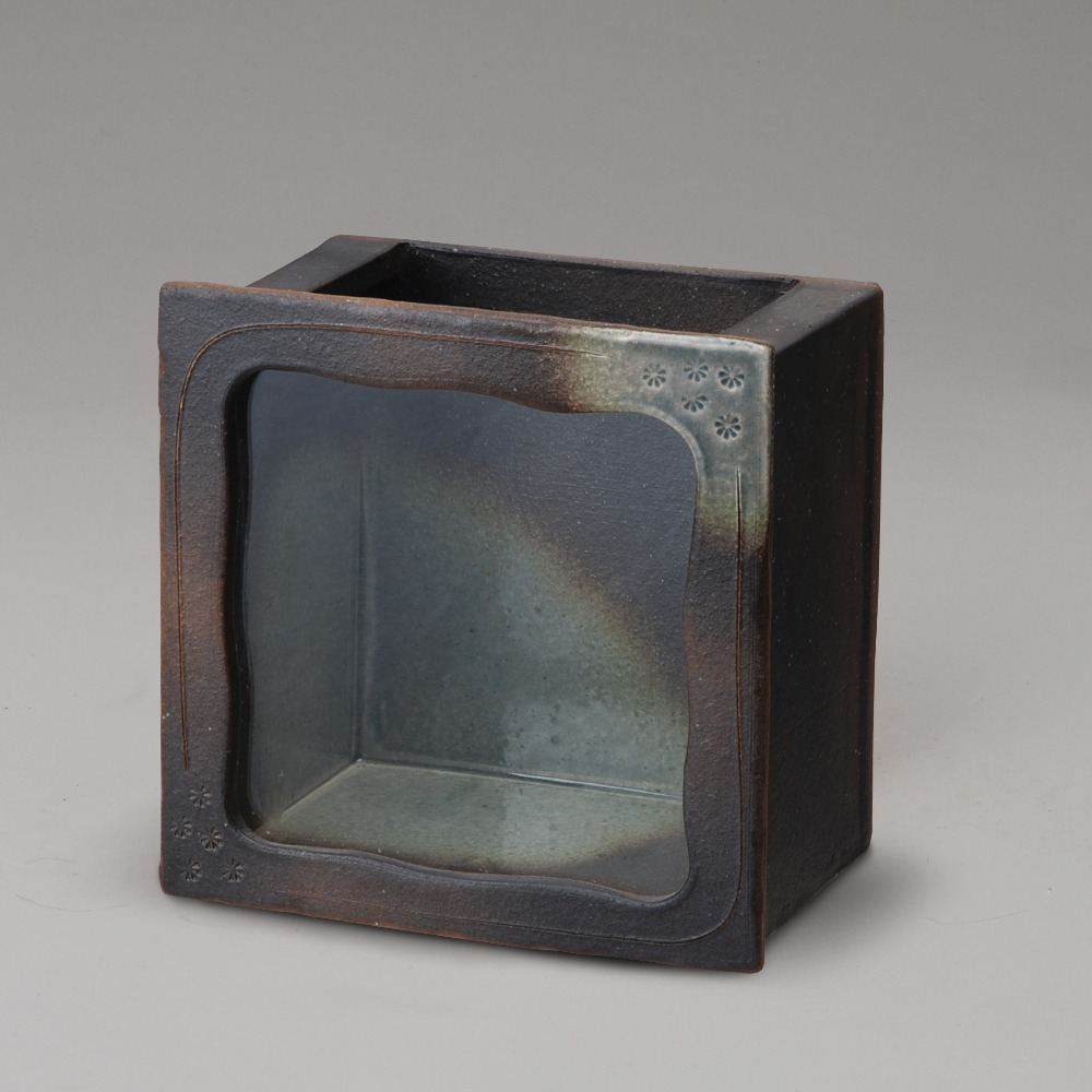Best selling black glazed corner square ceramic and glass fancy fish tank for sale