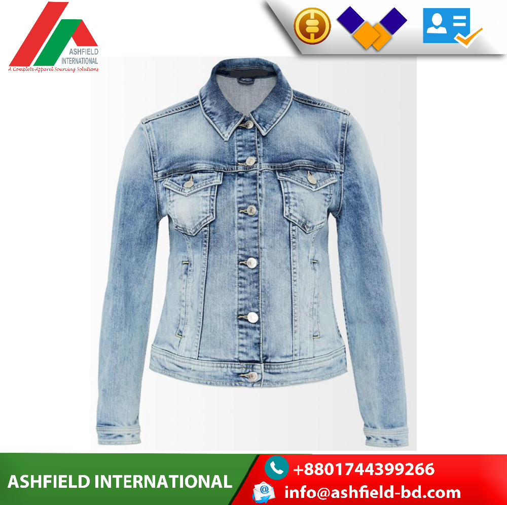 Wholesale latest design jean jacket ladies high quality coat for women