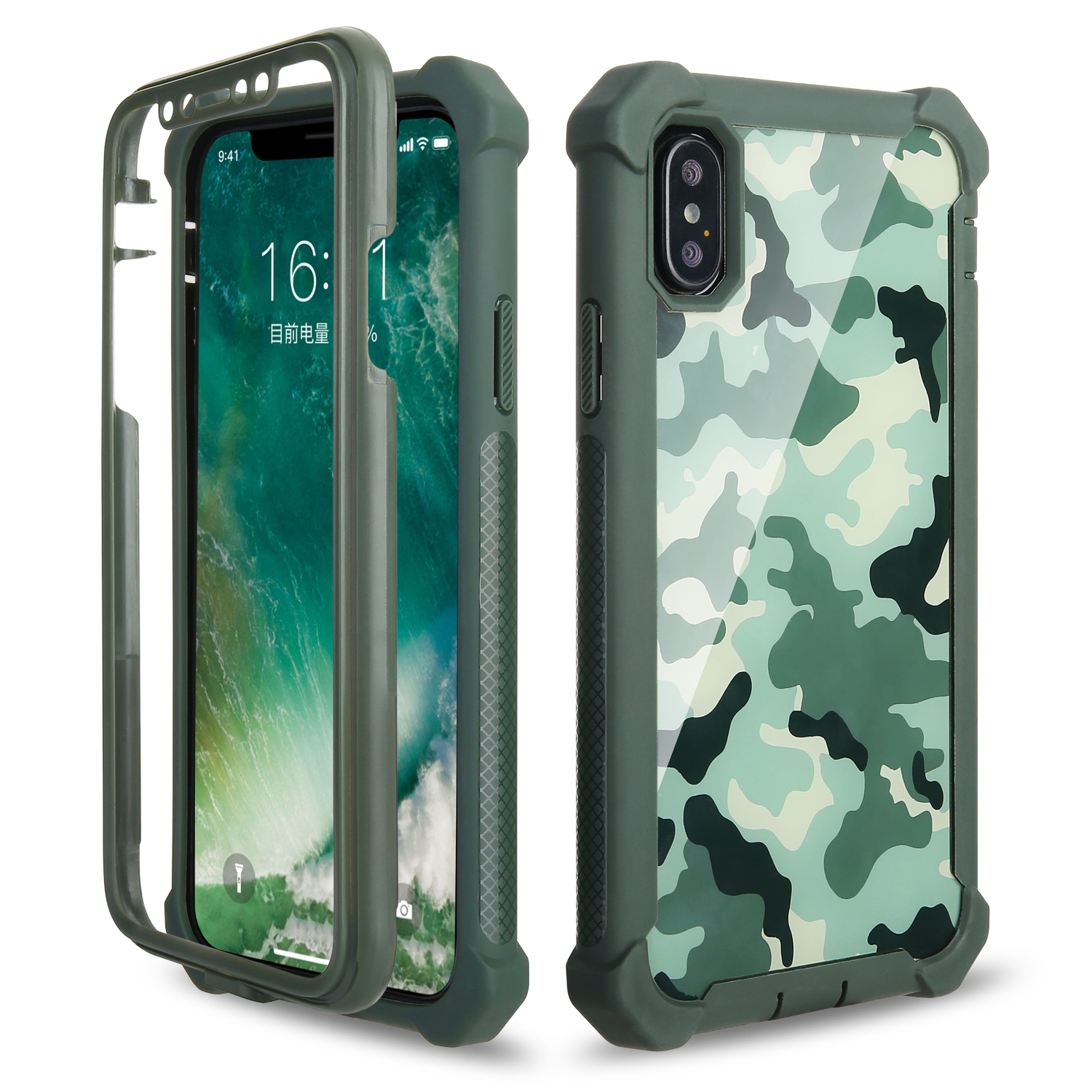 AICOO 3 in1 Translucent Solid Shockproof TPU PC Anti-fall Defender Camouflage Case Phone Cover For IPhone Samsung Note <strong>10</strong> <strong>Pro</strong>