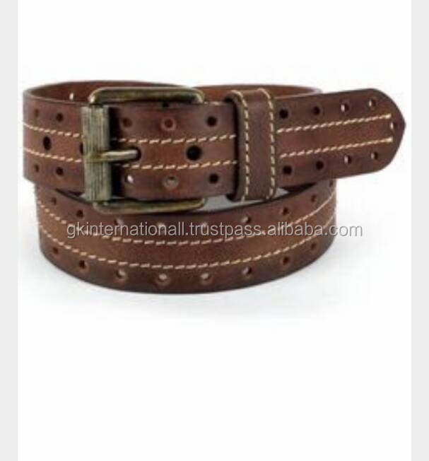 Casual roller buckle leather belt with hole design
