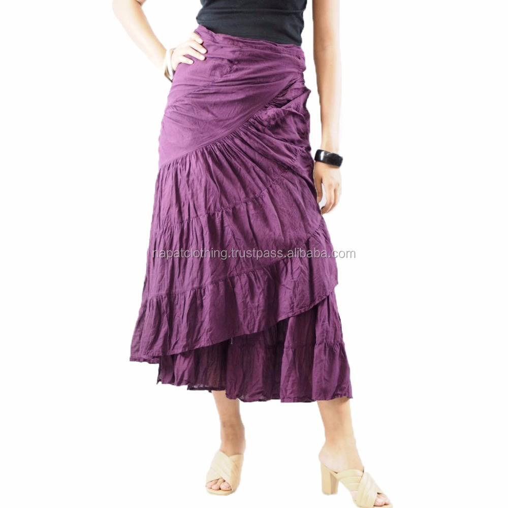 NAPAT Vintage Cotton Elastic High Waist Long Skirts Women