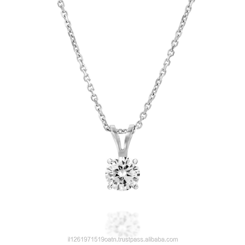 White/Yellow Gold Natural Diamond Pendant Total 0.50-0.55 Carat EGL Certificate