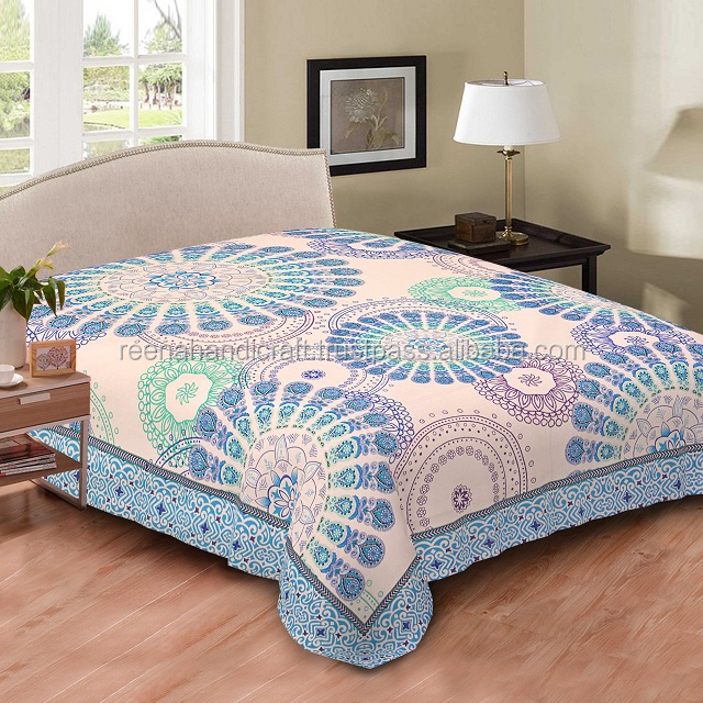 Home Furnishing King Fully Blue Peacock Embroidered Jaipuri 5 Piece Traditional Silk Bed Cover Blanket Bedsheet