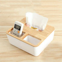 3 Styles Removable Plastic Tissue Box With Oak Wooden Cover Phone Holder Napkins Case Home Organizer Decoration