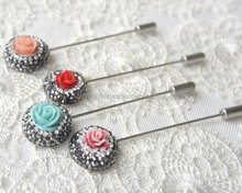 Islamic design clay rose hijap pins