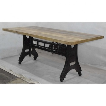 Mango Woden Top Industrial Crank Dining Table