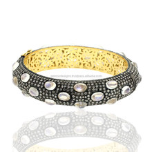 14kt Gold Vintage Bangle Blue Moonstone Pave Indian Pure Diamond Silver Bangle With Wholesale Price Jewelry