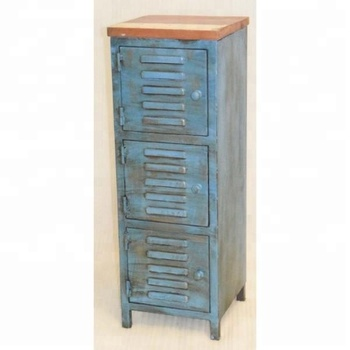Industrial Vintage Antique Blue Metal Cabinet Locker