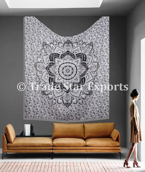 Mandala ombre fabric king size cotton printed tapestries wall hangings wholesale indian tapestry