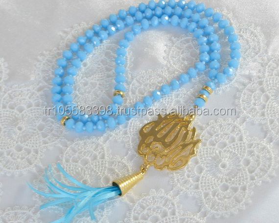 Baby blue color glass beads rosary