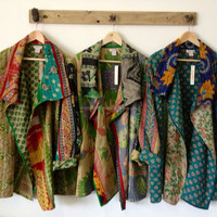 Vintage Cotton Kantha Jacket Reversible Handmade
