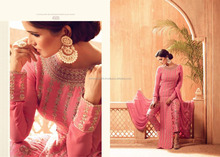 Pink Satin Georgette Anarkali Style Suit With Pants / Anarkali Suits / Pant Style Suits