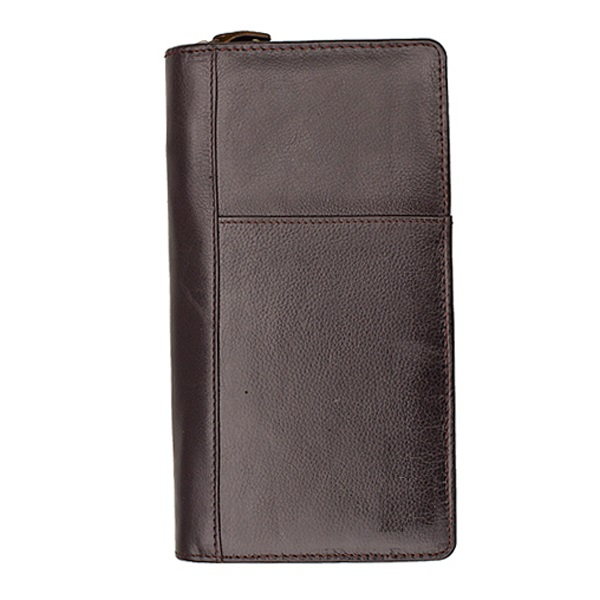 Handy Brown Travel Wallet Zipper PU Leather