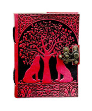 Handmade Goat Leather Journal Double Lion Embossed Book of Shadows Notebook Office Diary College Book Poetry Book Sketch Book