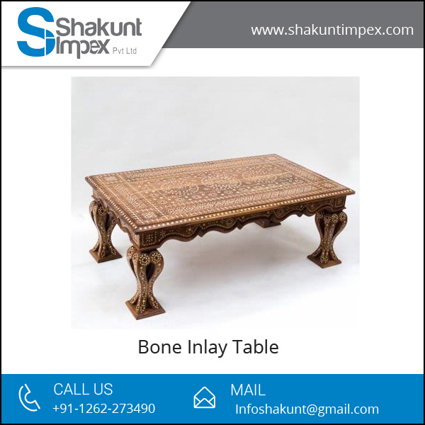 Long Bone Inlay Table with Attractive Pattern