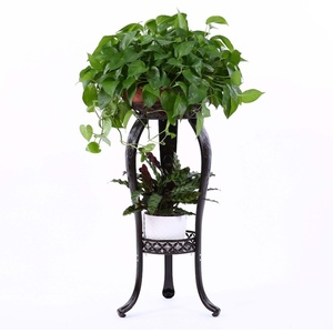 2-Tiered Scroll Plant Stand Decorative Metal Garden Patio Standing Plant Flower Pot Rack Display Shelf Holds 2-Flower Pot