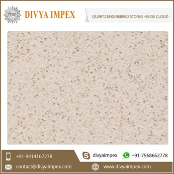 Artificial Non Porous Beige Quartz Engineered Stone for Countertop and Fireplaces