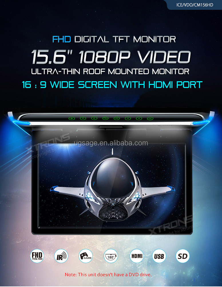 "XTRONS 15.6"" 1080P Video FHD car roof LCD Monitor with HDMI, roof mount tv"