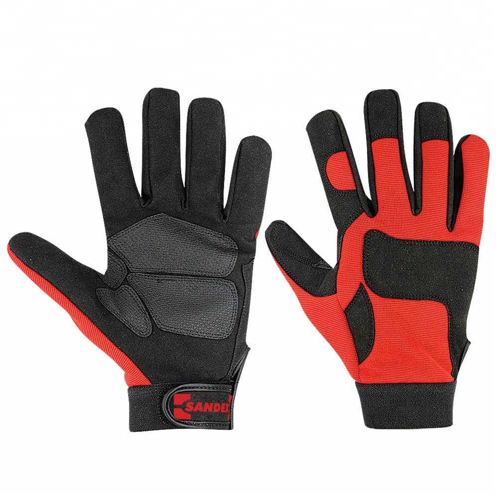 Comfortable Mens Safety Gloves Mechanical Work Leather Gloves