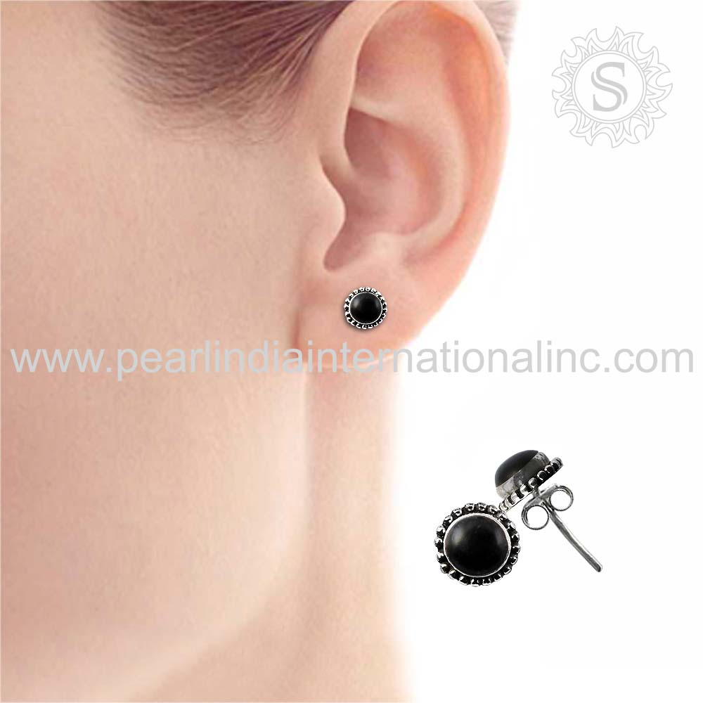 Shining studs earrings black onyx jewelry handmade silver earrings 925 sterling silver jewelry wholesaler silver jewelry