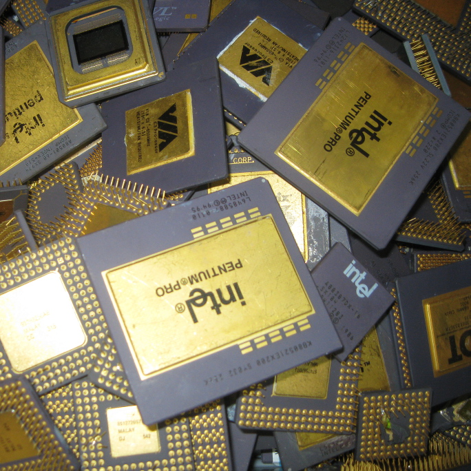 Intel Pentium Pro Ceramic CPU Processor Scrap with Gold Pins