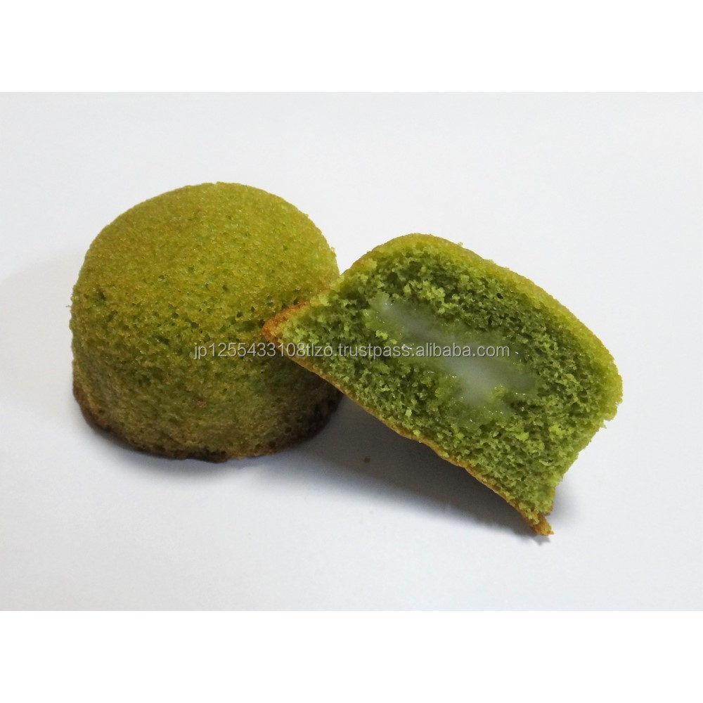 Bite sized individual packaging matcha chiffon cakes good for teacake