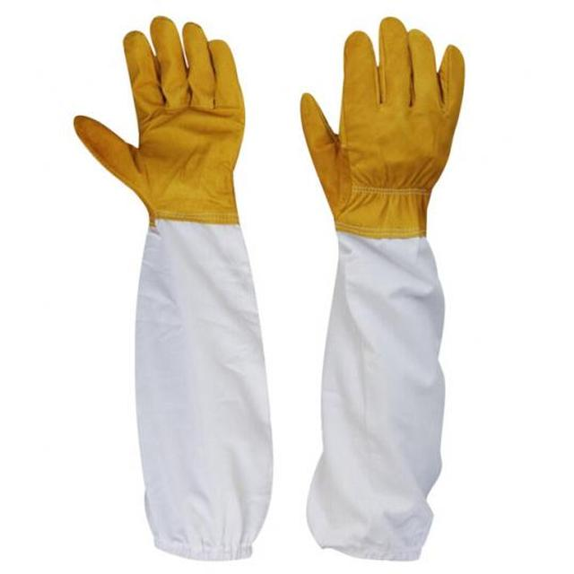 Beekeeping Gloves | SHIRRED ELASTIC 100% WHITE COTTON CUFF WITH ELASTIC HAND AREA YELLOW GOAT / COW SHEEPSKIN LEATHER |