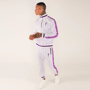 China Suppliers Poly Colour Block Color Contrast Men Tracksuit