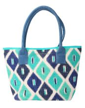 Indian Hand Block Printed Cotton Durrie Ikkat Trendy Large Party Tote Bag For Girl