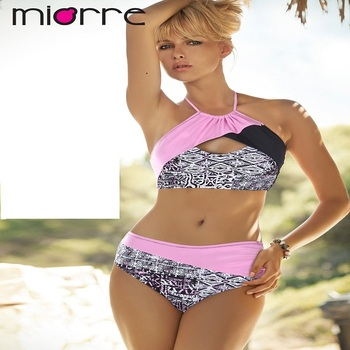 MIORRE OEM WOMEN NEW 2017 COLLECTION HIGH WAIST & QUICK DRY FABRIC ELEGANT ETHNIC PATTERNED SWIMWEAR BIKINI SET