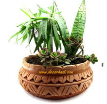 Beautifully Hand Crafted Terracotta Pot - Succulent Plant Pots With Cut Work Design For Homes and Garden
