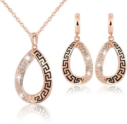 Gold Plated Rhinestone Retro Females Pendant Necklace Earrings Jewelry Set
