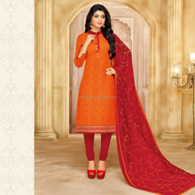 Designer Punjabi suit ORANGE Colour Printed Unstitched Dress Material
