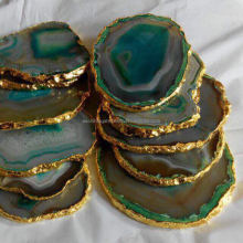 Gold Platted Agate Coasters : Wholesale Agate Coasters