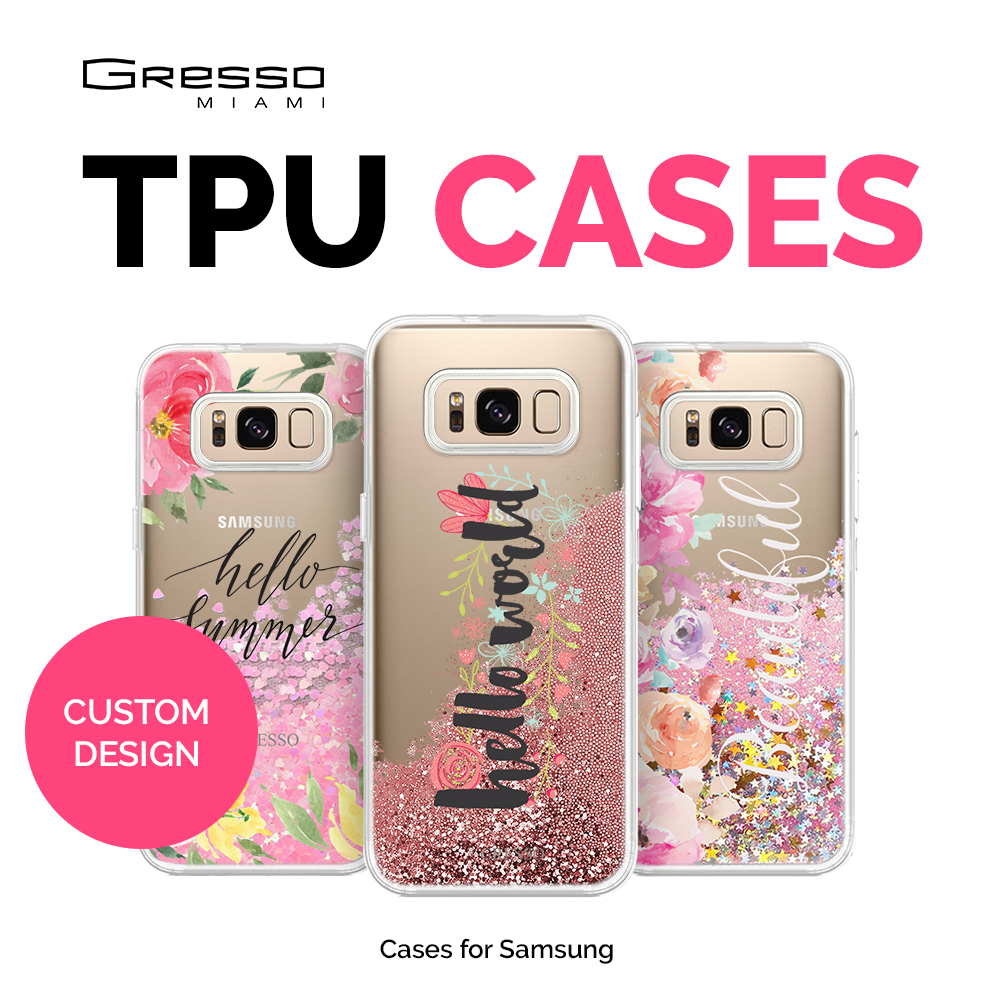 Best Seller Transparent TPU Wallet Case for Samsung Galaxy s9 s9+ s8 s8+ s7 with Quotes Design Printing and Liquid Glitter OEM