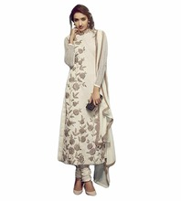 Semi-Stitched Beautiful Off-White Colour Cotton Net Heavy Thread Embroidery Wedding Party Wear Dress Material(salwar kameez Suit