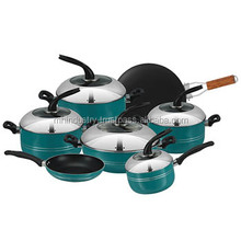2017 black handle SGS aluminium Nonstick Cookware set in Pakistan