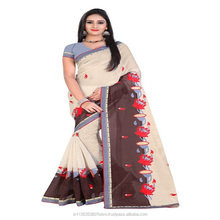 Cream And Coffee Designer Embroderied Chanderi Cotton Saree With Blouse