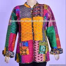 Silk Patola Sari Patchwork Indian Cotton Handmade Quilted multi-color Jacket Women Patry wear Coat Cotton Blazer Jacket