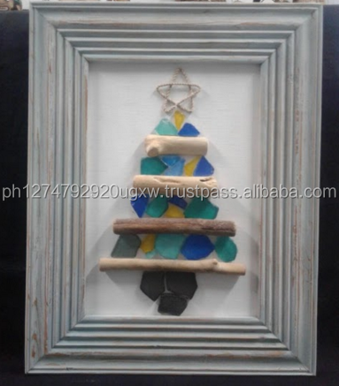 Philippine Frame Decor Christmas Tree with Seaglass and Driftwood handicraft