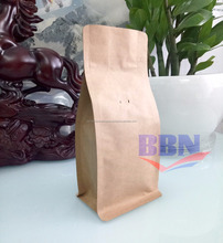 Coffee packing one way valve kraft paper flat bottom bag