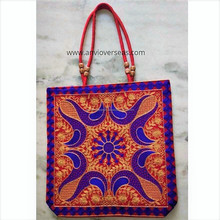 Indian Ethnic Fashion Designer Foldable Shopping bag, Banjara Handicraft Embroidered Wholesale Cheap Cotton canvas tote bag